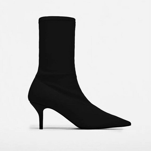 2018 Autumn Women Sock Boots Boots Boots Stretch Fabric Slip On 6.5CM High Heels Pointed Toe 0f8568