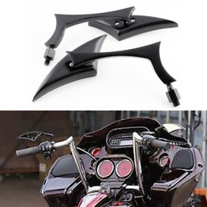 Black Tapered Tribal Rear View Mirrors For Harley Touring Glide Dyna Softail US