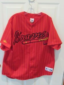 cheap for discount c1da1 c2c38 Details about VTG 90's Atlanta Braves Red Pinstripe Jersey men's size XL  MLB Baseball USA VGC