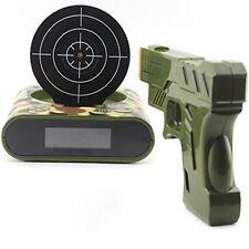 Novelty Gadget Funny LCD Gun Alarm Clock Target Panel Shooting Game Toys Gifts