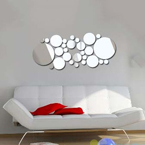 Removable Round Mirror Style Art Wall Stickers Decal Trendy Home Mur UK/_ EG/_ HK