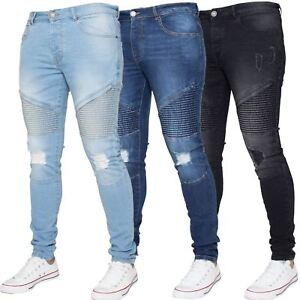 f9708b3be296 Enzo Mens Ripped Biker Jeans Super Skinny Slim Fit Stretch Denim ...