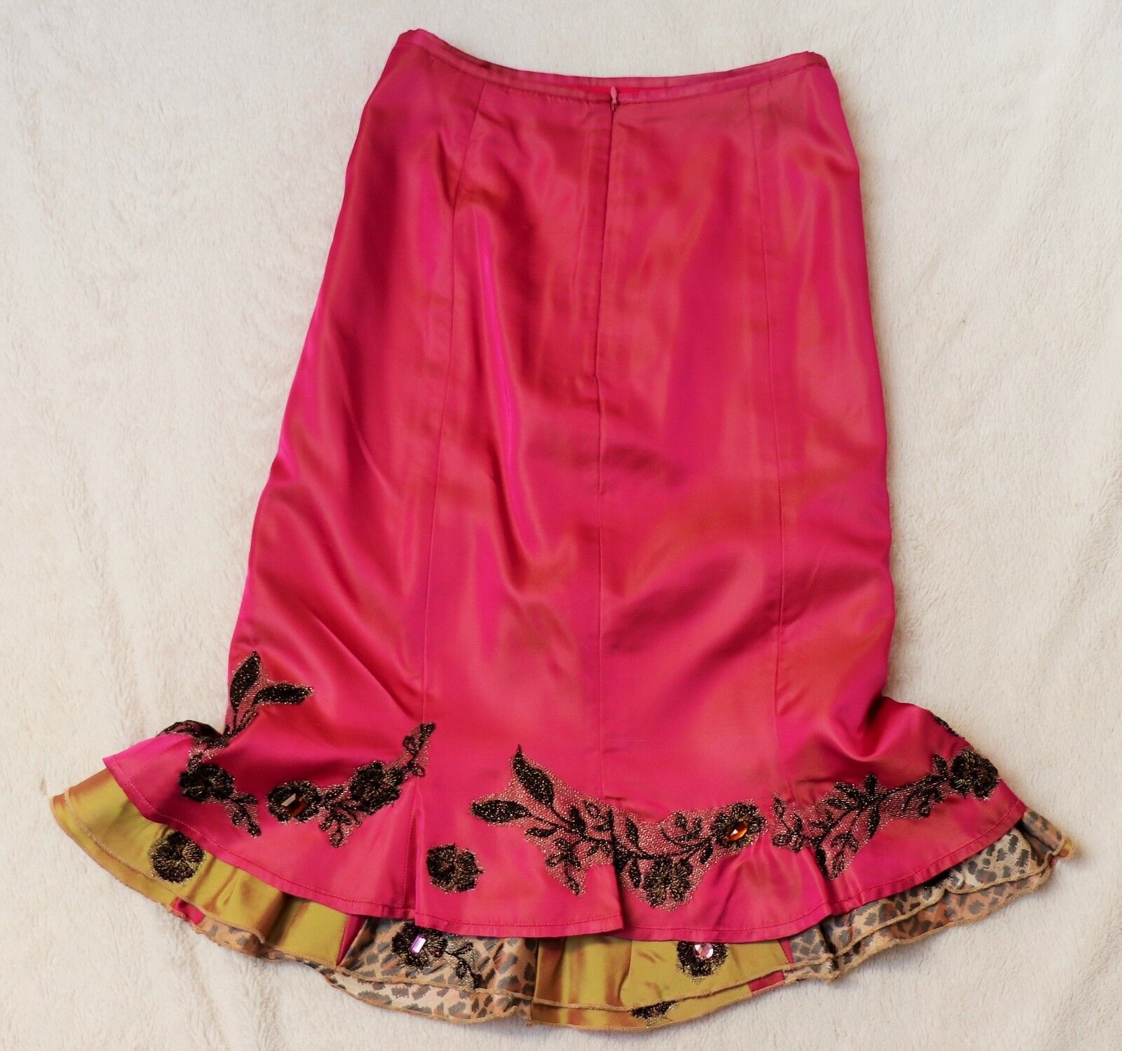 ORIGINALE rosa ella Singh penna Satin Satin Satin Rock Fiori Gordet volant rosa S 36 38 e9b23e