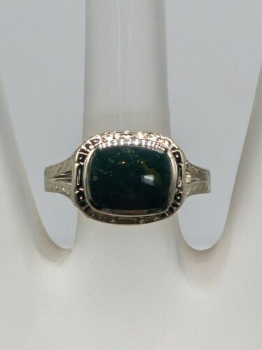 Antique 1900s Edwardian 3ct Bloodstone 14k White G