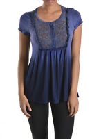 T-party Denim Blue Mineral Wash Button Front Baby Doll Top