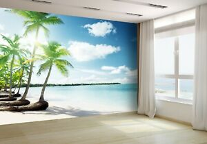 Details About Palms And Caribbean Beach Wallpaper Mural Photo 13313070 Budget Paper