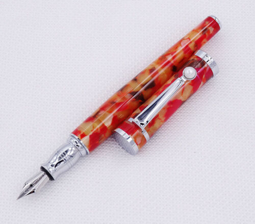 Fuliwen Celluloid Fountain Pen Maple Leaf Orange Fashion Fine Nib Writing Pen