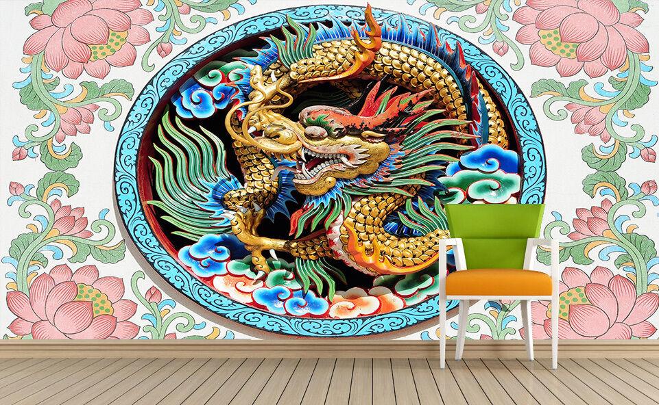 3D Incisione Drago Parete Murale FotoCarta da parati immagine sfondo muro stampa