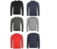 Mens Slazenger Crew Neck Fleece Sweatshirt Top Black Grey Red Blue Navy ALL SIZE