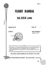 Aérospatiale SA 315B Lama 1970's HISTORIC RARE PERIOD MANUAL ARCHIVE HAL Cheetah