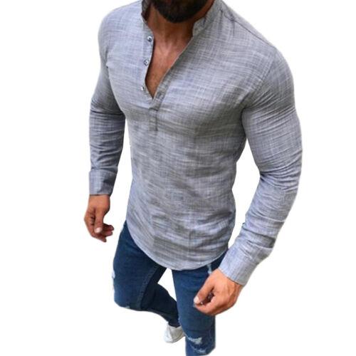 Herren V-Ausschnitt Langarmshirt Slim Fit T Shirt Oberteile Freizeit Hemden 3XL