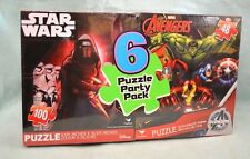6 PC Marvel DISNEY Spiderman STAR WARS Avengers PARTY Pack PUZZLES Puzzle NEW