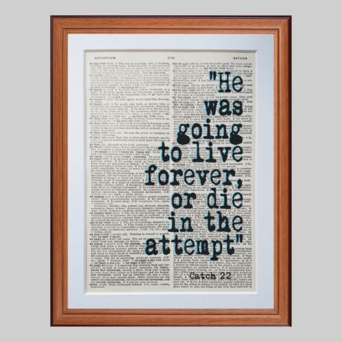 Catch 22 Heller quote dictionary page art print books literary gift quotes