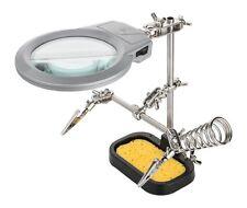 Löthilfe Dritte Hand mit Lupe und LED Beleuchtung Halter u Schwamm für Lötkolben