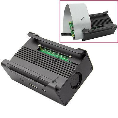 Black Aluminum Alloy Case Cover Shell + Cooling Fan for Raspberry Pi Model B+