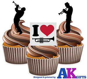 I Love Trumpet Mix 12 edible stand up cup cake decoration blue jazz