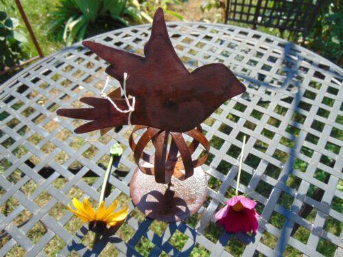 Edelrost Kugel mit Standfuß und Vogel rostig Gartendeko Rost Deko Metallkugel