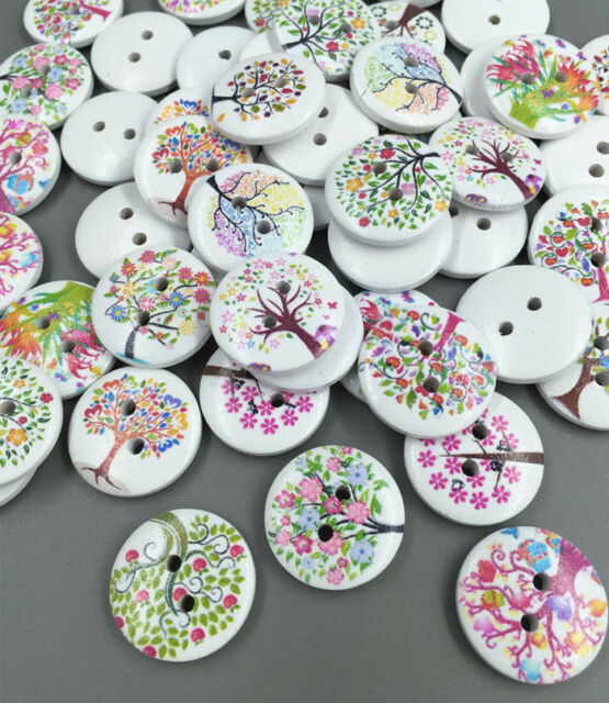 FREE DIY Mixed Tree Pattern 2 Holes Wood Buttons Sewing Scrapbooking Crafts 20mm
