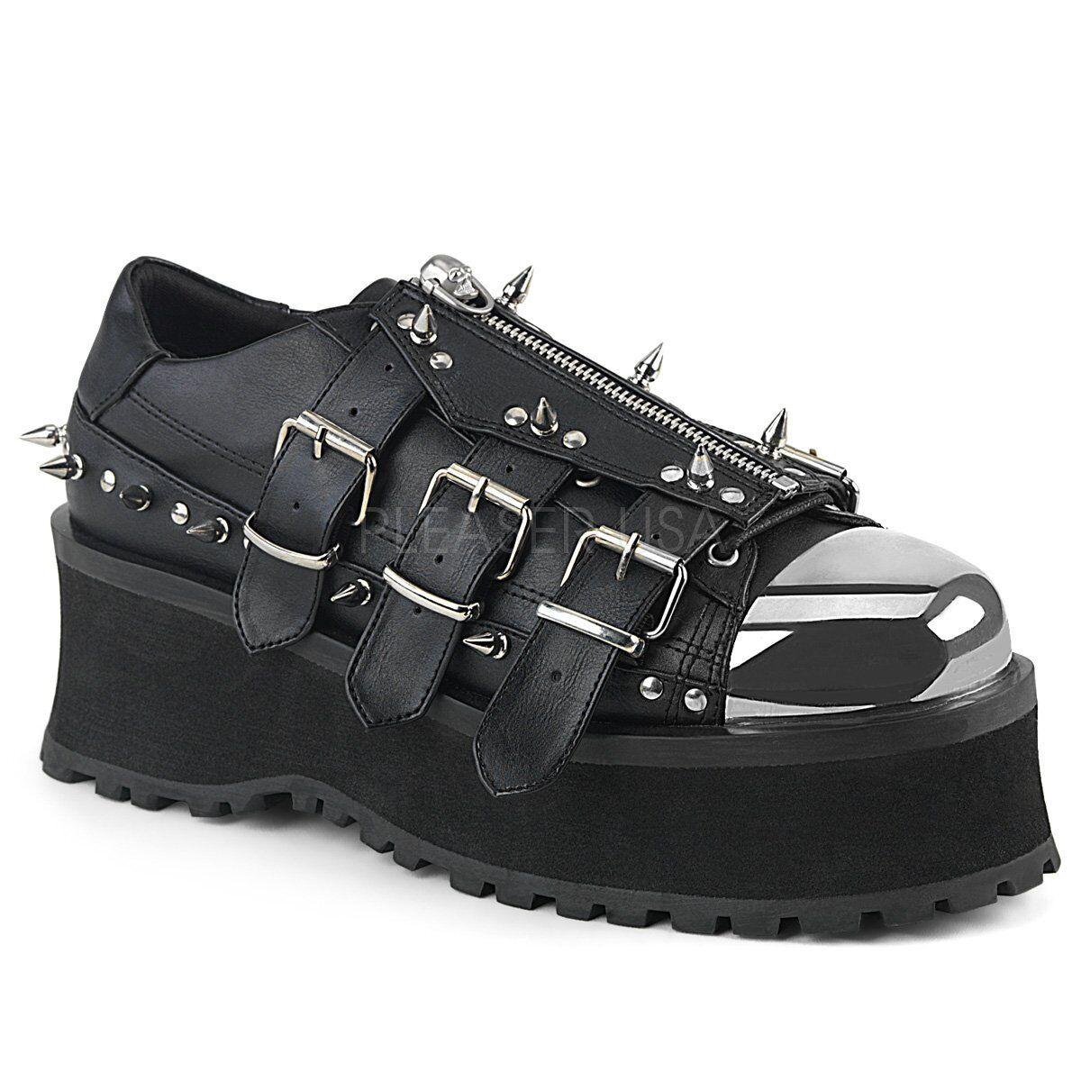 Demonia Mens Gothic Goth Punk Rock Metal Spikes Metal Toe Vegan Platform chaussures