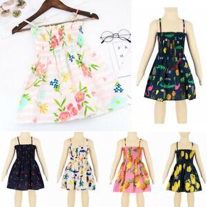 Toddler-Baby-Kids-Girls-Summer-Sleeveless-Strap-Dress-Print-Dress-Casual-Clothes