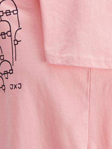 Jack /& JONES de hombre fresco de impresión de la obra de arte Rosa Slim Fit T-Shirt Todos Las Tallas