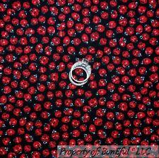 BonEful FABRIC FQ Cotton Quilt Black Red White B&W Dot LADYBUG Calico China Girl