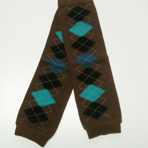 Free Shipping USA SELLER BABY LEG WARMERS 1 Size Fits All W004 Brown Argyle