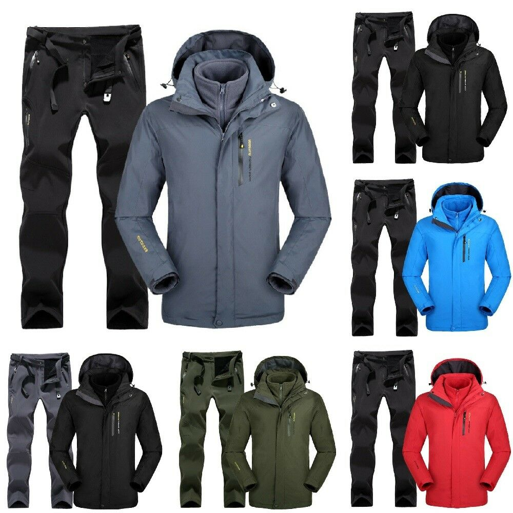 Men Ski Suit Set Jacket and Pants Outdoor Ski Hiking Camping Sports Fleece Suit