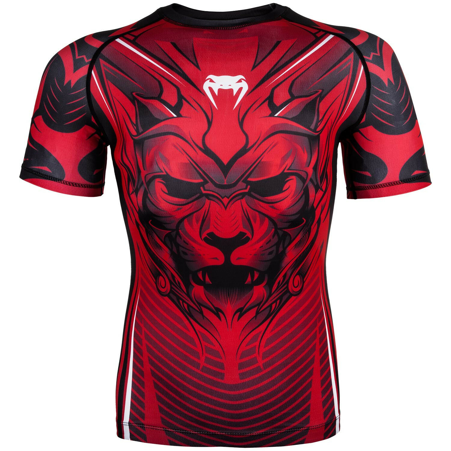 VENUM BLOODY ROAR RASHGUARD COMPRESSION MMA SHIRT - SHORT SLEEVES - RED