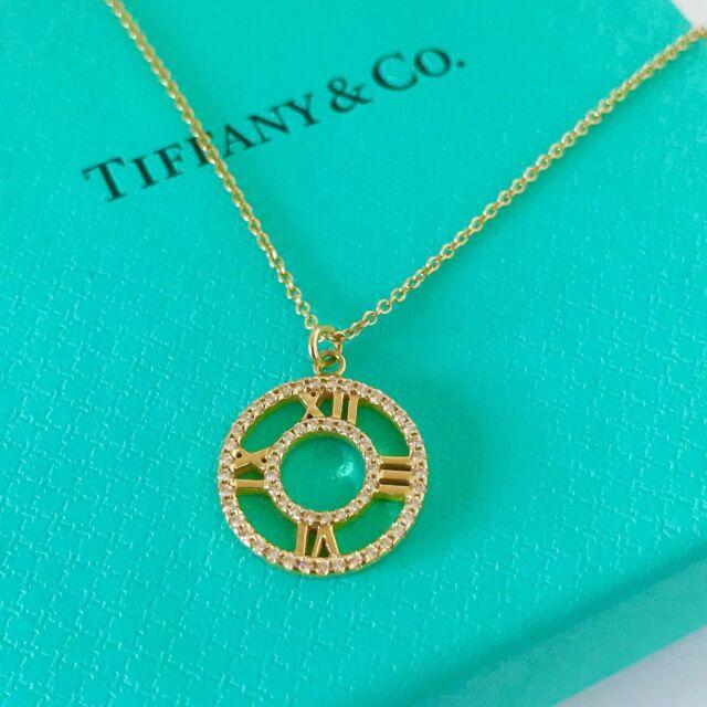 c342ccc8752c Tiffany   Co 18k Yellow Gold Diamond Open Pendant Necklace 16