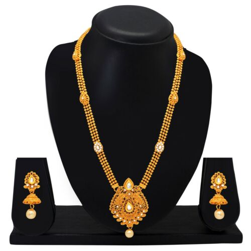 Ethnic Indian Jewelry Long Necklace Bollywood Earrings Gold Plated Bridal Set