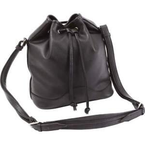 New-Black-DRAWSTRING-BUCKET-PURSE-Vegan-Leather-Adjustable-Shoulder-Handbag-Bag