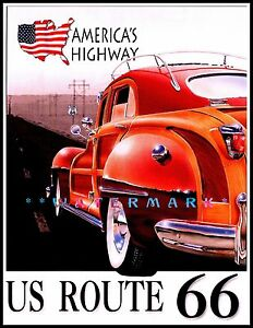 Route 66 America/'s Highway Vintage Poster Print Travel Tourism Classic Car