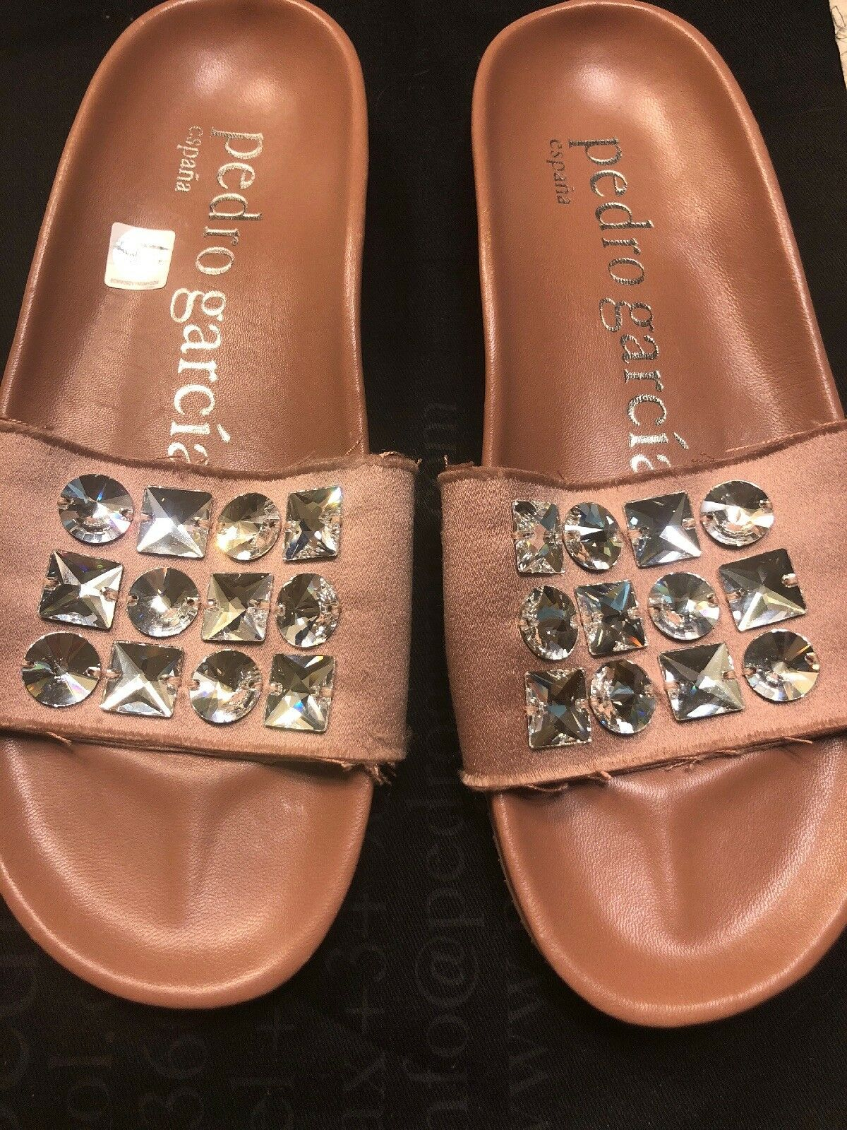 Pedro Garcia Amery de cristal cristal cristal adornado diapositiva de Satén Sandalias De Mujer Talla 37 M  venderse como panqueques