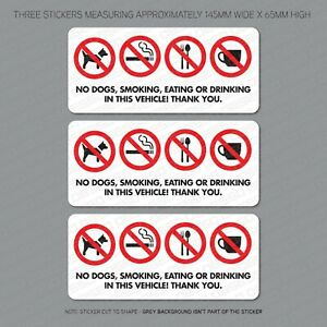3-x-No-Dogs-Smoking-Eating-Or-Drinking-Taxi-Stickers-Minicab-Cab-Notice-6305
