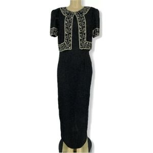 Vintage-Stenay-Size-10-Black-Silk-Sequin-Beaded-Gown-Evening-Dress-Maxi-L