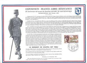 FEUILLET-PHILATELIQUE-SUR-LE-GENERAL-LECLERC-25eme-anniversaire-de-sa-mort