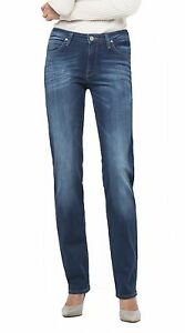 Lee Marion Ladies Straight Leg Stretch Jeans New Womens Night Sky Faded Denim