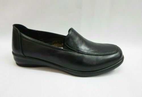 LADIES DR LIGHTFOOT SLIP ON WORK WALKING WEDGE SHOES,BLACK NAVY SIZES 3-8 763