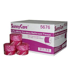2-Ply White Coreless Bath Toilet Paper Tissue 36 Rolls/Carton SunnyCare #5676