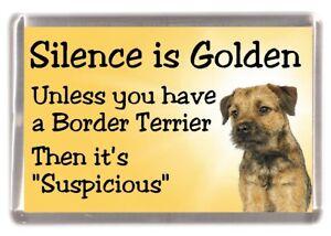 border terrier dog fridge magnet silence is golden by