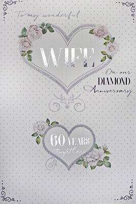 60th 60 Diamond Wedding Anniversary Greeting Card Mum /& Dad Wife Husband