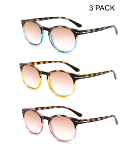 d87ff14b0ef9 Image is loading 3-PACK-Tinted-Round-Reading-Glasses-Tortoise-Sunglasses-