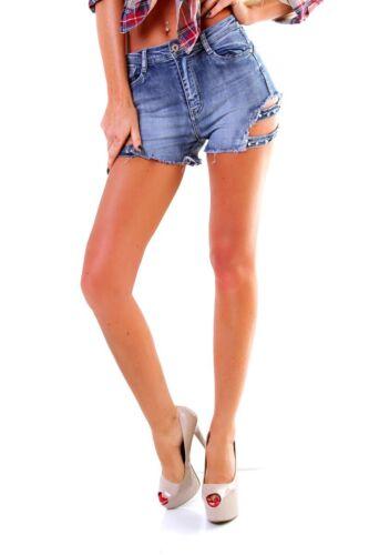 5684 jeans da donna Hotpants Denim Shorts Pantaloni Corti Hot Pants frange glitzerstein