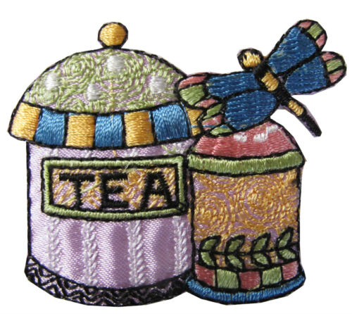 """#4362 2-1//8/"""" Teapot and Teacup w//Dragonfly Embroidery Iron On Applique Patch"""