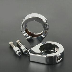 Chrom-39mm-Gabelklammer-Blinker-halterung-Fuer-Harley-Sportster-Dyna