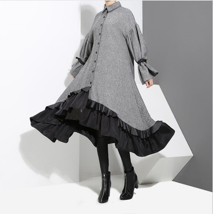 Womens Ladies 2018 Korean Fashion Bell Sleeve Falbala Irregular Loose Dress 9537