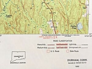 DURHAM CT TOPOGRAPHICAL MAP 1953 Cockaponset State Forest, Totoket Mountian etc.