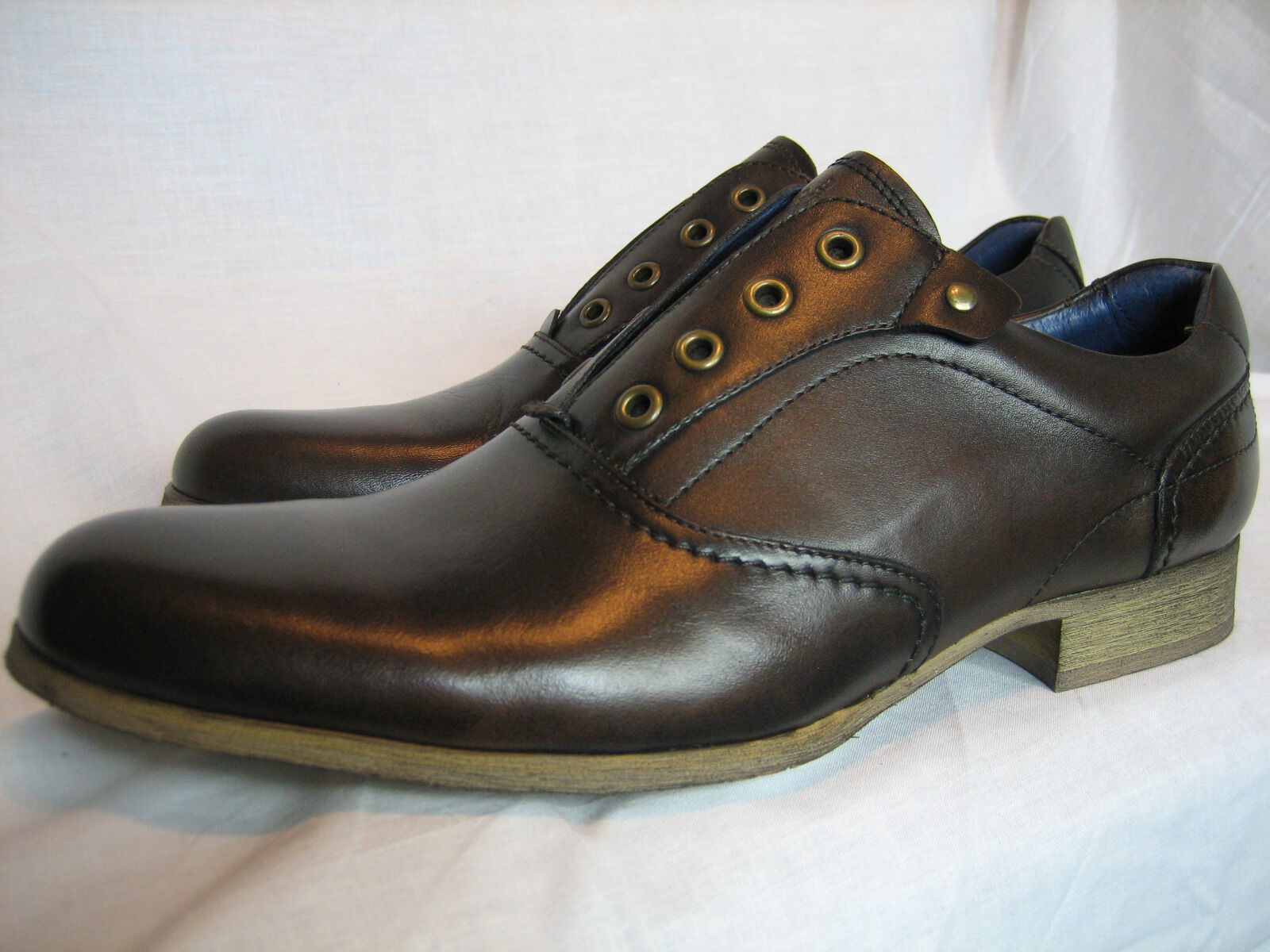 Men's Maruti Brown Laceless leather Oxford Loafer Slip-on shoes size 7 EU41