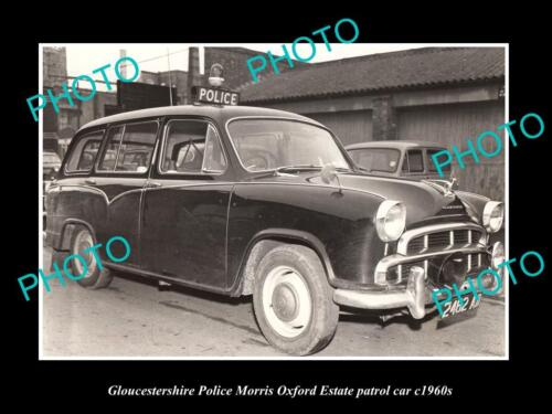 OLD HISTORIC PHOTO OF GLOUCESTERSHIRE POLICE PATROL CARS, MORRIS OXFORD c1960s